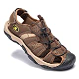 Puno King Men's Hiking Sandals Closed Toe Fashion Outdoor Non-Slip Comfy Shoes Summer Fisherman Beach Slipper Brown Size 8.5