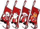 JPYH Medias de Navidad, 4pcs 23cm Bolsa de Regalo Calcetines de Navidad para el árbol de Navidad Chimenea Decoración Colgante Calcetín de Navidad Santa, Reno, Muñeco de Nieve