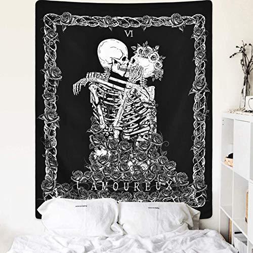 Cockeuro Totenkopf-Tapisserie Skelett Liebhaber Tapisserie Tod Tarotkarte Tapisserie Schwarz und Weiß Wandteppich Wandbehang für Zimmer