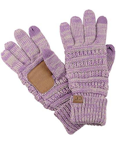 C.C Unisex Cable Knit Winter Warm Anti-Slip Touchscreen Texting Gloves, Lilac/Dark Beige