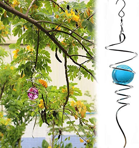 AXsmyi Wind Spinner Ball Spiral Tail with Hanging Swivel Hook,3D Crystal Kinetic Ornament Decor,Kinetic Spiral for the Garden and Home Decoration Made (Blue)