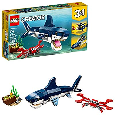 LEGO Creator 3in1 Deep Sea Creatures 31088 Make a Shark, Squid, Angler Fish, and Crab with this Sea Animal Toy Building Kit (230 Pieces) by LEGO