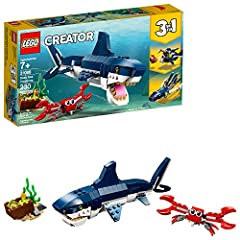 Kids can create their own animal with this build and rebuild ocean playset featuring 3 toy sea creatures, They can go from building a scary toy shark and a crab with a box of treasure to building a flexible toy squid or a giant-mouthed Angler Fish In...