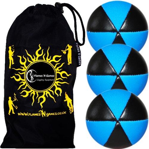 Flames N Games Astrix UV Thud Juggling Balls Set of 3 (Black/Blue) Pro 6 Panel Leather Juggling Ball...