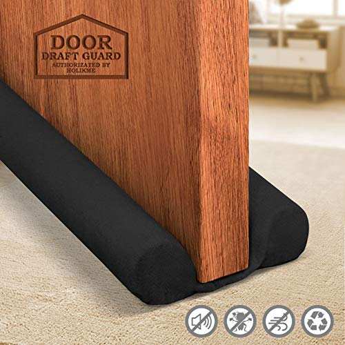 Holikme Twin Door Draft Stopper Weather Stripping Noise Blocker Window Breeze Blocker Adjustable Door Sweeps 34inch Black
