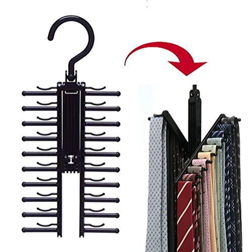 JustPe 20 Bar Tie Rack Hanger with Non Slip Clips 360 Degree Rotation Tie Hanger Organiser Rack - Scarf Hanger Belt Rack Storage Organiser