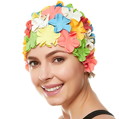 Beemo Floral Petal Ladies Bathing Swim Cap - Multi Color