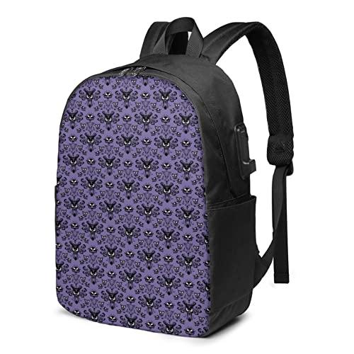 Haunted Mansion Zaino da viaggio per laptop con porta di ricarica USB per uomini e donne da 17', Nero , Taglia unica,