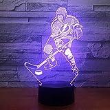 3D Illusione Lampada Partita Di Hockey Su Ghiaccio Luce Notturna Led Bambini Lampada Da Notte Da Tavolo Da Letto Bambini Compleanno Giocattoli Regali 16 Colori Cambiano Con Smart Touch Button