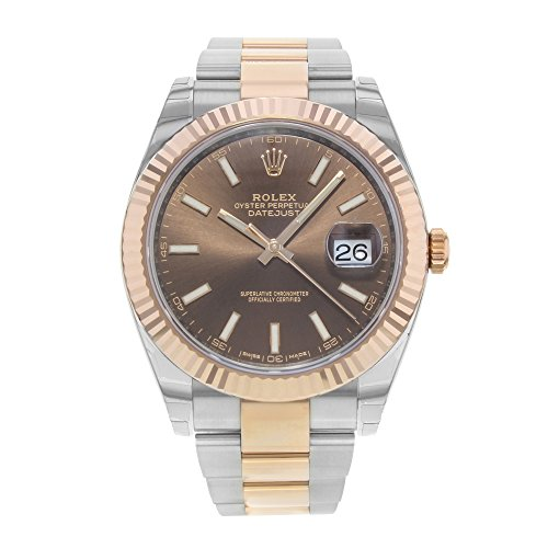 Rolex Datejust 41 Chocolate Dial Acero y 18 K Everose Oro Mens Reloj