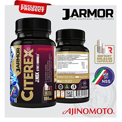 ossido nitrico erezione Integratore Citerex di Jarmor 100 cps da 1300 mg  con Arginina Ajinomoto