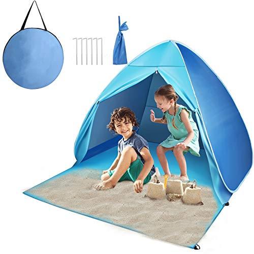 FBSPORT Strandmuschel Pop Up, Strandzelt Zelt mit Türvorhang und Windschutz UV-Schutz 50+, Familie Kinder Portable Outdoor Beach Tent für 2-3 Personen