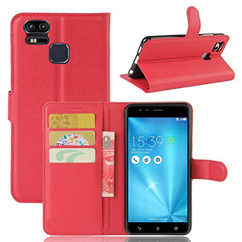 Tasche für Asus ZenFone 3 Zoom ZE553KL (5.5 zoll) Hülle, Ycloud PU Ledertasche Flip Cover Wallet Hülle Handyhülle mit Stand Function Credit Card Slots Bookstyle Purse Design rote