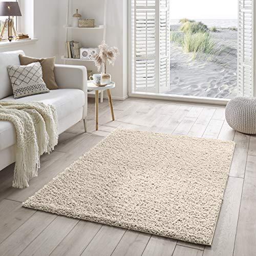 Shaggy-Teppich | Flauschiger Hochflor für Wohnzimmer, Schlafzimmer, Kinderzimmer oder Flur Läufer | einfarbig, schadstoffgeprüft, allergikergeeignet | Creme - 200 x 200 cm