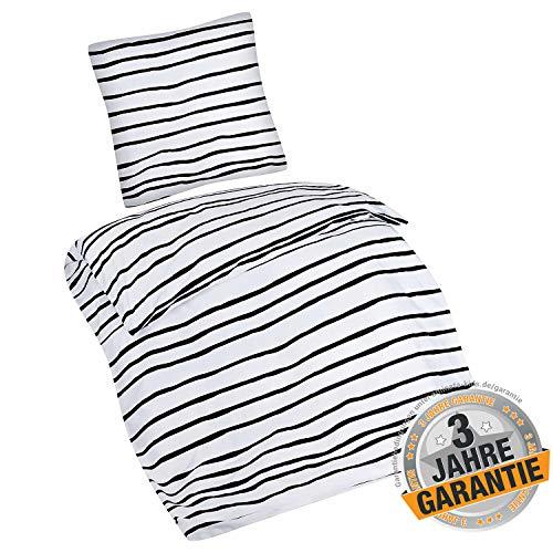 Aminata Kids Premium Bettwäsche-Set Streifen-Optik 135-x-200-cm Damen, Männer & Paare - Baumwolle - schwarz, weiß gestreift - weich & kuschelig, Reißverschluss, Zebra-Optik, Afrika