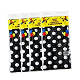 4 Pack Plastic Disposable Tablecloths for Rectangle Tables 54' x 108' Rectangular Table Cloths Covers Heavy Duty Tablecloth PEVA for Outdoor Picnic Camping 8 F00T Polka Dot Black