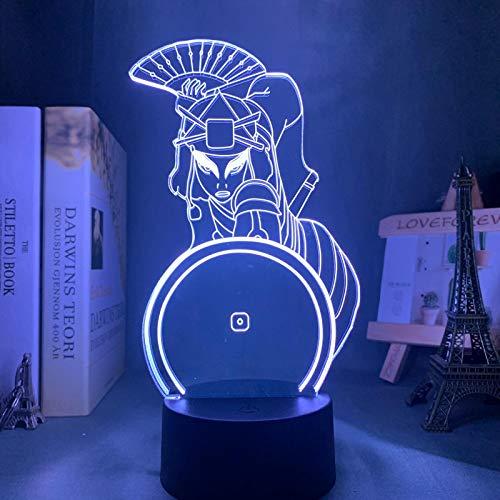 SCNYCUL 3D LED lámpara mesa luz nocturna Ventilador de ropa samurái femenino7 colors niño regalo de fiesta de Navidad decoración hogar