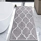 HEBE Large Bath Rug Runner for Bathroom 55'x27.5' Non Slip Extra Long Microfiber Bath Floor Mats Machine Washable Area Rug Absorbent Bath Shower Mat, Geometric Grey