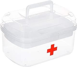 WXYXG 家庭用薬箱多層プラスチック製医療箱救急箱家庭用薬収納ボックス (Color : Clear, Size : 24cm×14.5cm×15cm)