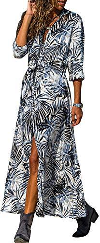 chuangminghangqi. Vestiti Donna Eleganti Maniche Lunghe Chiffon Camicia Stampa Maxi Abito Casual con Bottoni sul Davanti (Blu, XL)