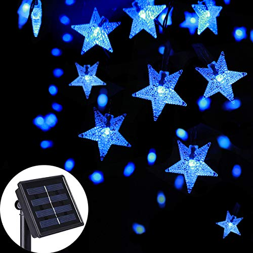 SEMILITS Solar String Lights Outdoor - Waterproof 30ft 50 LED Star Shaped Twinkle Fairy Lights for Christmas Wedding Party Wind Chimes Ambiance Hang Lights (Blue)