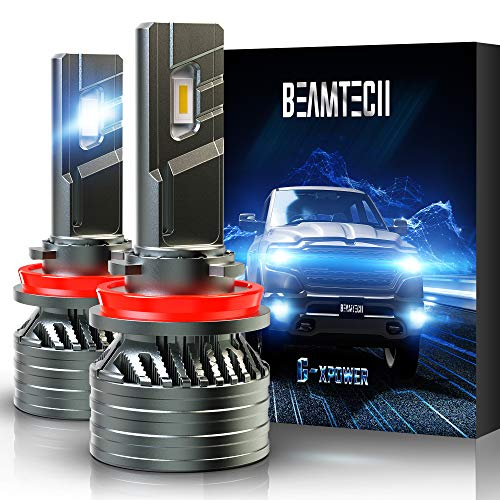 BEAMTECH H11 LED Bulb, H8 H9 G-XP Chips 6500K 12000LM 360 Degree Beam 90W Xenon White Conversion Kits With Fan High Brightness Low Fog Light