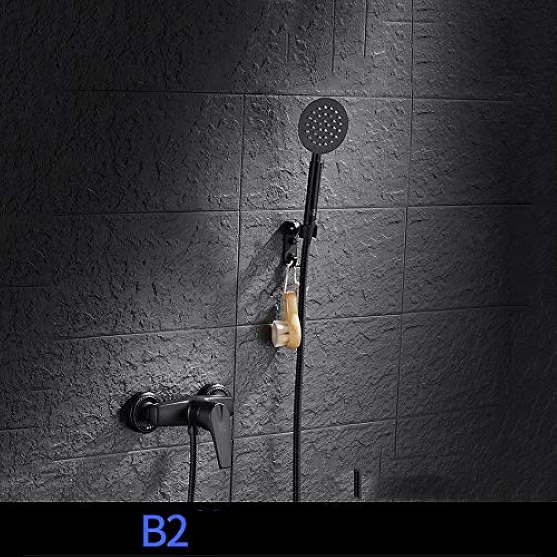 GUANCY Schwarzer Kupfer Edelstahl klassisch Duschsystem mit Wasserhahn und Handbrause Brause Duschset für Badewanne und Badezimmer,B2
