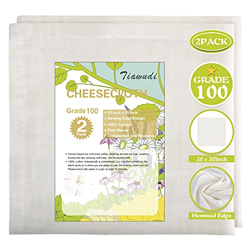 2 Pack 20x20 Inch, Grade 100, 100% Unbleached Pure Cotton Cheesecloth for Straining, Ultra Fine Reusable Hemmed Edge Stainer, Double Layer Filtration, Nut Milk Strainer