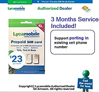 Port in You Existing Number Lycamobile Preloaded Sim Card with 3 Months $23 Plan Service with Unlimited Talk Text and Data