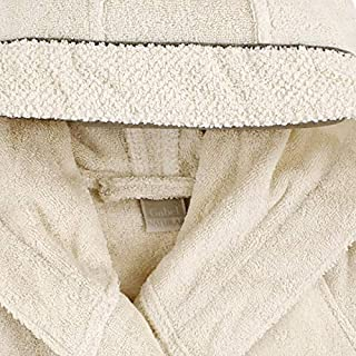 GABEL - Gabel Naturae - Albornoz con capucha. Fuentes de rizo de color liso algodón retorto - Natural 500, XXL