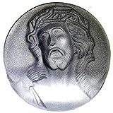 Sandblasted Crystal Glass Medallion - Head of Jesus Christ Blessing Statue, Crystal Figurines, Light Scene for Praying Hands, Model for Home Decoration