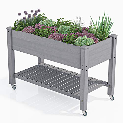 AMZFINE Heavy Duty Wooden Raised Garden Bed Kit with Lockable Wheels/Storage Shelf, Solid Wood Elevated Planter Box -48