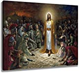 LB Framed Christ Jesus Canvas Wall Art Preaching for The Soldiers Holy Religious Christian Painting Canvas Prints Living Room Bedroom Bathroom Wall Decor Ready to Hang,16x12 inches