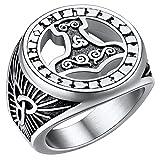 FaithHeart Anillo Ancho de Mitología Nórdica Talla 9 Martillo de Thor Cuervo Odin Anillo Hombre Acero Inoxidable 316L Joyería Vintage Amuleto Protección Odin Guerreros