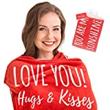 I Love You Throw Blanket in Organza Bag with Message Card I Gifts for Her I Valentine's Day, Christmas, Anniversary, Birthday Gift for Girlfriend, Wife, Family, Couples | Red Throw 50' x 60'