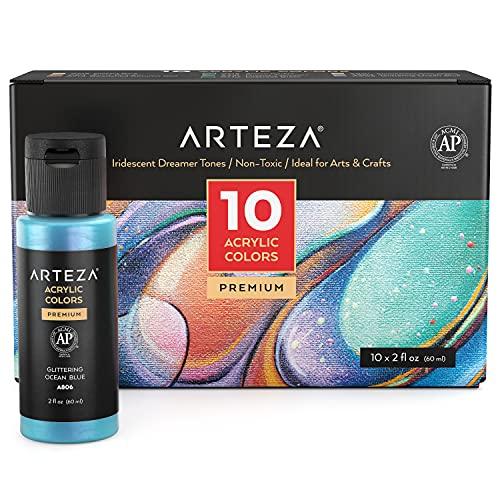Arteza Acrylfarben Set irisierend, 10 Chamäleonfarben in Träumertönen, 60 ml-Flaschen, hochviskose schimmernde Acrylmalfarben wasserbasiert und mischbar für Leinwand, Holz, Steine, Stoffe