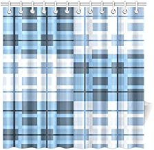 Home Decor Bath Curtain Blue Plaid Baby Boy Nursery Design Fabric Polyester Fabric Waterproof Shower Curtain for Bathroom, 72 X 72 Inch Shower Curtains Hooks Included