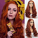 K'ryssma Fashion Women's #360 Copper Red Lace Front Wigs Synthetic Glueless Long Wavy Free Part Half Hand Tied Replacement Full Wigs for Halloween Heat Resistant 24 inches