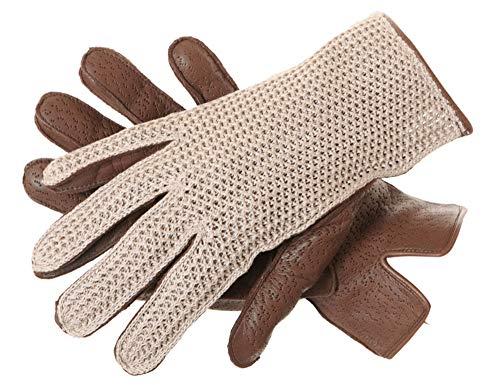 SunnyTrade Sauso Auburn Handschuh - Braune/Beige Full-Finger Handschuhe - Strick Leder Kombination - Fahrer und Motorradhandschuh, Größe:S / 7