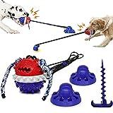 Petaccom Juguetes para Perros Resistentes con Ventosas y Estaca, Juguete Molar Interactivo para Perros, Juguete para Masticar para Mascotas, Limpieza de Dientes, Dispensador de Comida para Perros