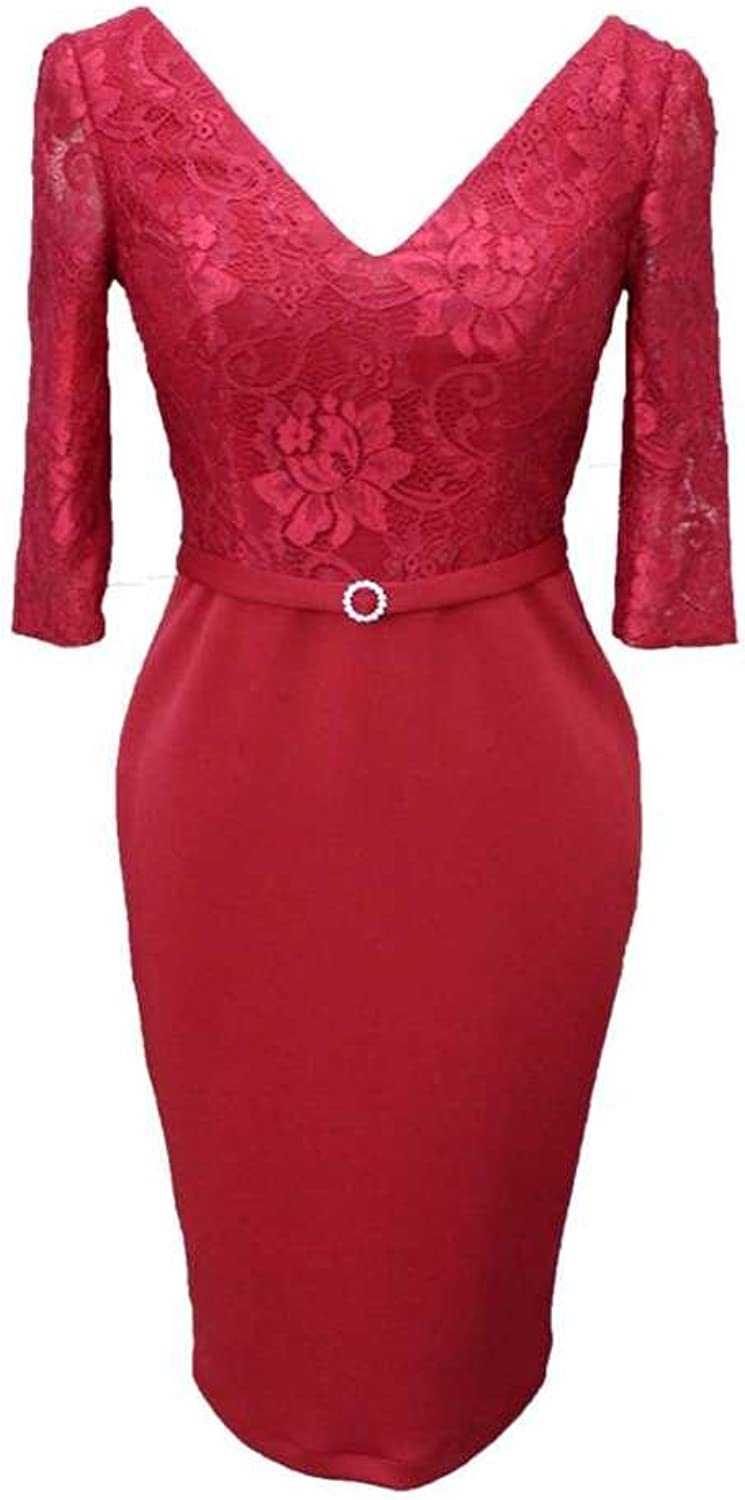 colorDRESS color e Dress Women's VNeck Harf Sleeves lace Cocktail Dress Prom Dress