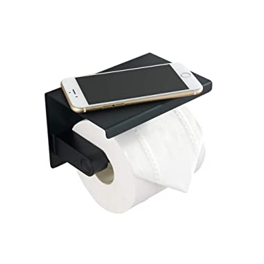BGL Toilet Paper Holder - Stainless Steel Toilet Paper Roll Holder with Shelf Wall Mounted for Bathroom (Black, Single Head)