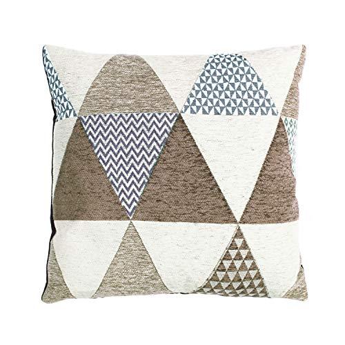 Cuscino arredo 50x50 cm, decoro triangoli nocciola Marrone