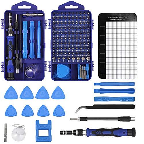 COLFULINE Juego de Destornilladores de Precisión 121 en 1, Mini Destornillador Herramientas de Reparación de Bricolaje Destornillador Magnética Profesional Extraíble para Movil Portátil Reloj