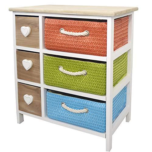 Casa & Mas commode van natuurlijk hout met 6 laden. Ideaal voor badkamer, woonkamer, slaapkamer. Design harten/meerkleurig 57 x 52 x 28 cm