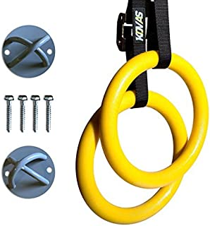 Kovas Gymnastic Rings with Adjustable Straps & Ring Mounts - Home Gym Gymnastics Equipment - Improve Fitness Strength & Ba...