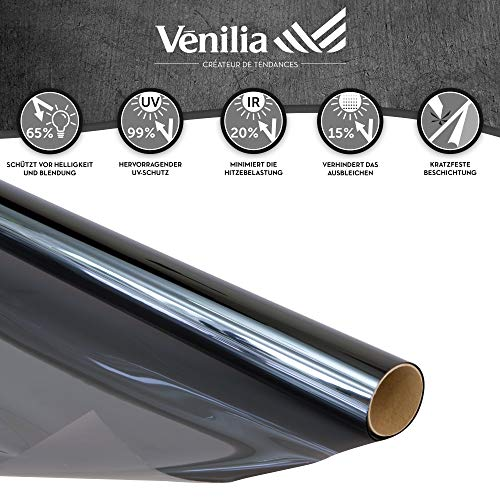 Venilia Sonnenschutzfolie, Thermofolie mit Hitzeschutz, Fensterfolie schützt vor Sonneneinblendung und eindringen von Wärme, inkl. Cutter und Schaber, PVC, 92 cm x 2 m, 53438, 92 x 200 cm