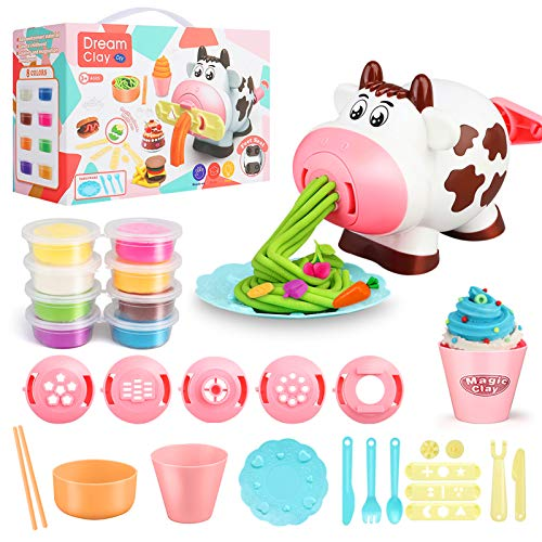 Playdough Sets Play Dough Tools, 28Pcs Kitchen Creations Noodle Playset and Ice Cream Maker Machine Play Dough Kit for Toddlers,3 4 6 8 Year Boys and Girls Play Dough