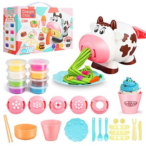Playdough Set di strumenti per la pasta, 28 pezzi, set da gioco per pasta da cucina, set da gioco e macchina per il gelato per bambini, 3 4 6 8 anni ragazzi e ragazze giocano impasto