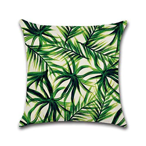 Wollaston Funda de cojín cuadrada de lino verde de 45 x 45 cm con estampado de plantas para accesorios de sofá, 45 x 45 cm, color verde
